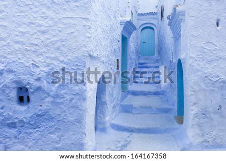 Street in medina of blue town Chefchaouen, Morocco - stock photo