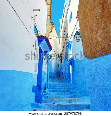 Street in Medina of Chefchaouen, Morocco, small town in northwest Morocco known for its blue buildings