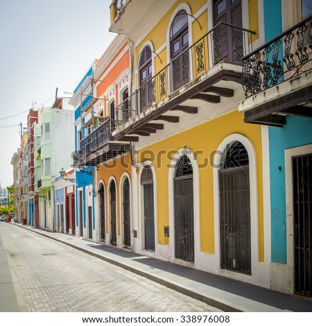 Street in old San Juan, Puerto Rico - stock photo