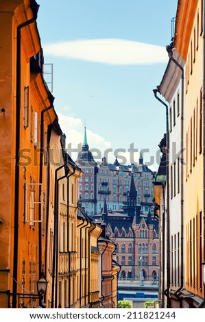 Street in Old Town Gamla Stan in Stockholm, Sweden - stock photo