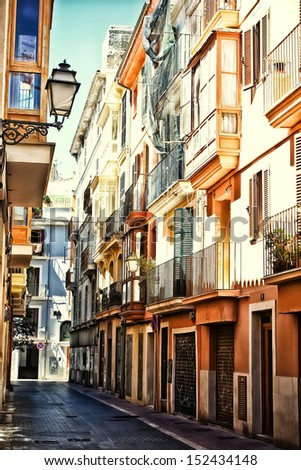Street in Palma de Mallorca, Spain, Balearic islands, Mallorca - stock photo