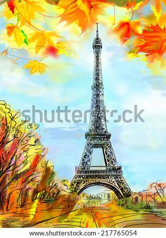 Street in paris. Eiffel tower -sketch  illustration  - stock photo