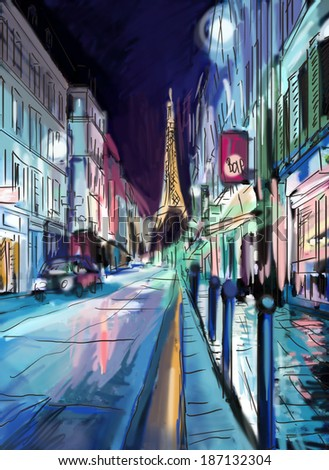 Street in paris - illustration  - stock photo
