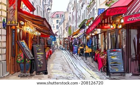 Street in paris - illustration  - stock photo