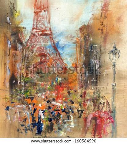 Street in Paris - illustration, oil painting - stock photo