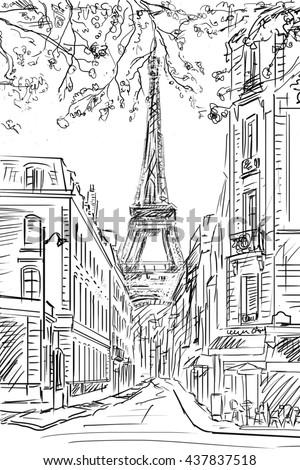 Street in paris -  sketch illustration concept - stock photo