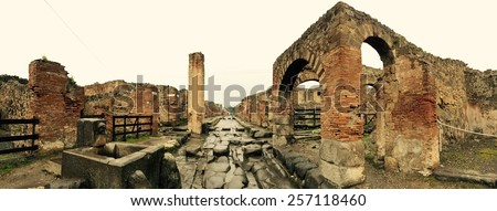 Street in Pompeii, Italy - stock photo