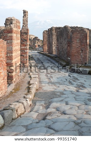 Street in Pompeii ruins, Italy. - stock photo