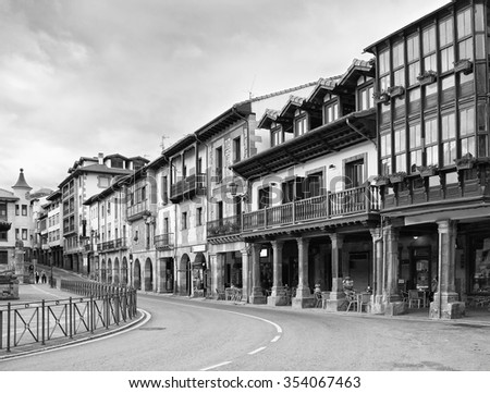 Street in Potes, Cantabria, Spain. Black and white