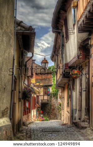 Street in Riquewihr, Alsace - stock photo