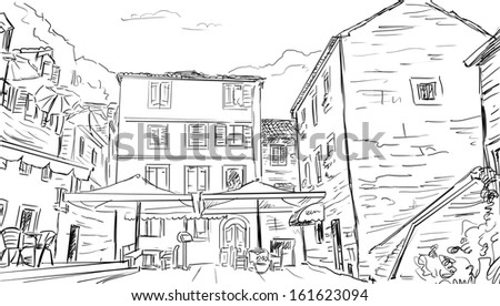 Street in Roma - sketch  illustration