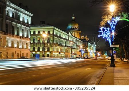 Street in Saint Petersburg near Saint Isaac's Cathedral - stock photo