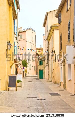 Street in Saint Tropez, French Riviera - stock photo
