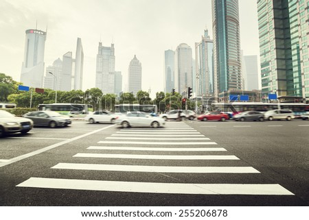 street  in Shanghai Lujiazui,China - stock photo