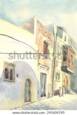 street in the Arab city_ watercolor - stock photo