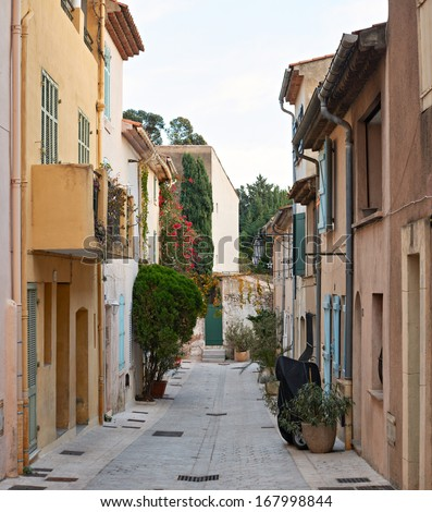 Street in the centre of Saint Tropez town, Provence, France - stock photo