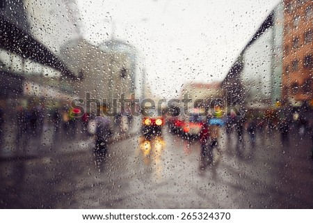 Street in the heavy rain - Prague, Czech Republic  - stock photo