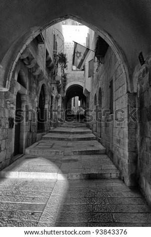 street in the old Jerusalem - stock photo