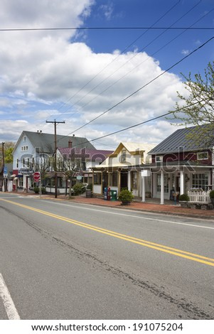 Street in The Plains, Virginia. The Plains is located in Fauquier County Virginia - stock photo