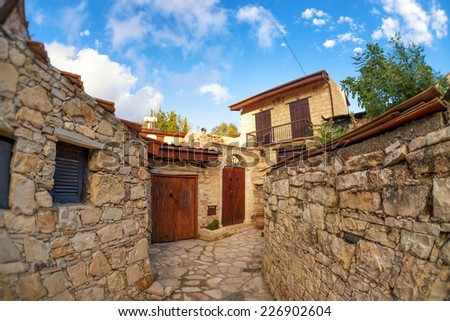 Street in the traditional Cypriot village Lofu. Limassol District, Cyprus - stock photo
