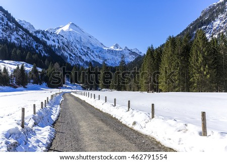street in the valley Stillach  in Bavaria in winter