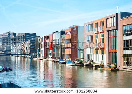 Street in Zeeburg district of Amsterdam, Netherlands - stock photo