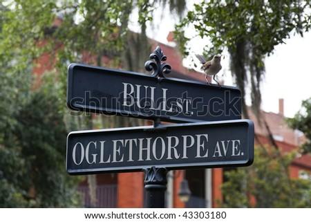 Street intersection in Savannah, GA - stock photo