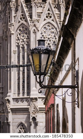 street lamp and detail of the basilica in Arucas at Gran Canaria