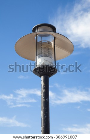 Street lamp blue sky background.