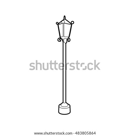 Street lamp icon in outline style isolated on white background. Illumination symbol