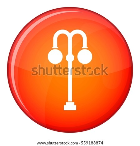 Street lamp icon in red circle isolated on white background  illustration