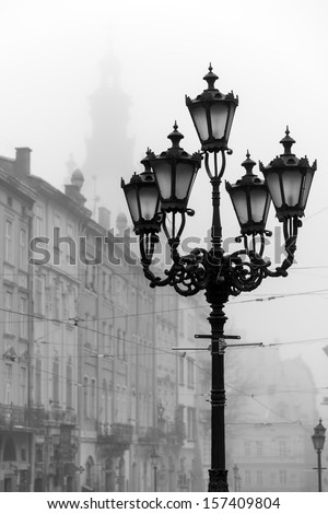 Street lamp in historic Old Town district, Lviv - stock photo
