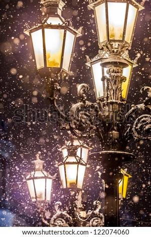 street lamp in the snow - stock photo