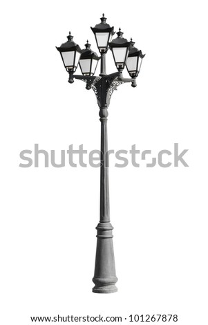 street lamp, isolated on white - stock photo