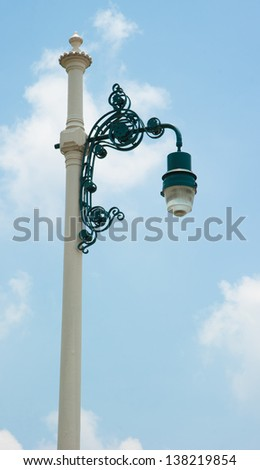 Street Lamp on Blue Sky Background - stock photo