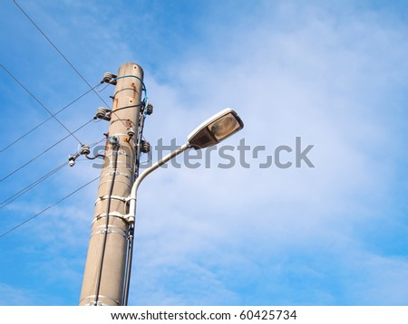 street-lamp on blue sky background