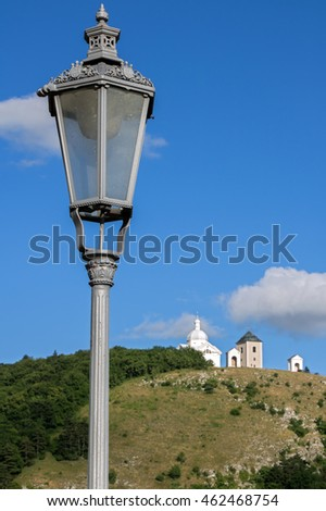 street lamp on the background of Holy Hill with chapel, Mikulov, Czech republic