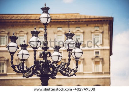 Street Lamp on the St. Peter's Square, Vatican, Rome, Italy