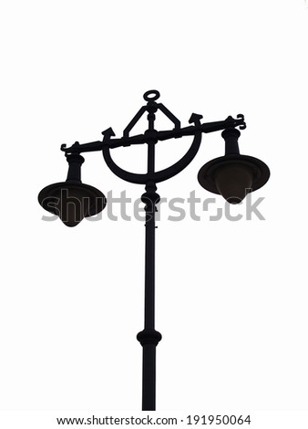 Street lamp on white background, isolated vertical - stock photo
