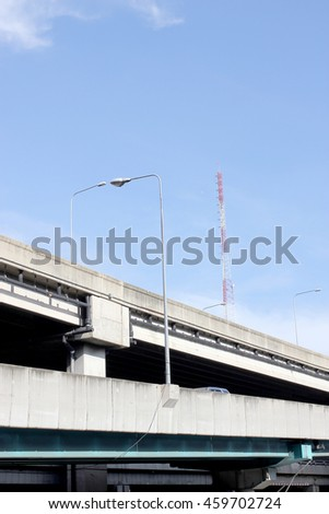 street lamp post in blue sky background - stock photo