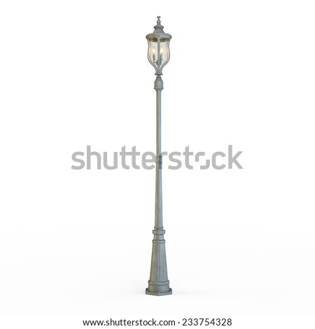 Street lamp post isolated on white - stock photo