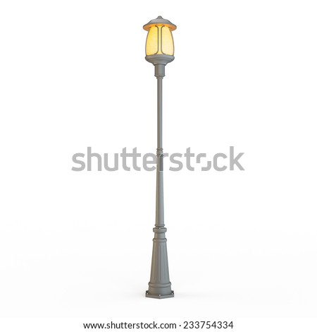 Street lamp post isolated on white