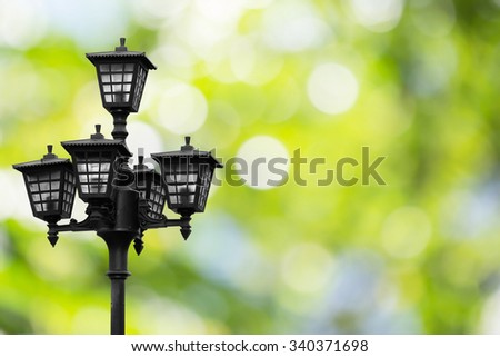 Street lamp post on natural background bokeh blurred.Environment Day concept. Ecology concept.sustainability.energy