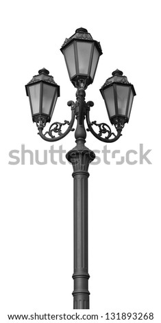 Street lamppost isolated on white - stock photo