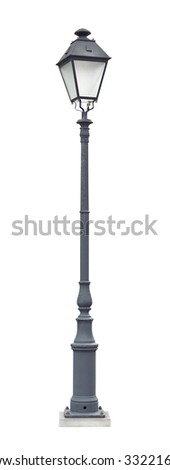 Street lamppost with one lamp gray isolated on white background - stock photo