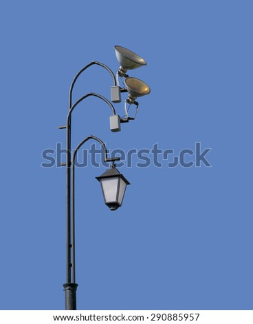 Street lamps on blue sky background