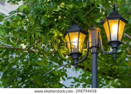 Street lamps that illuminate the pathway, during twilight.  - stock photo