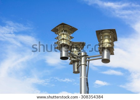 street lamps with cloud on sky background