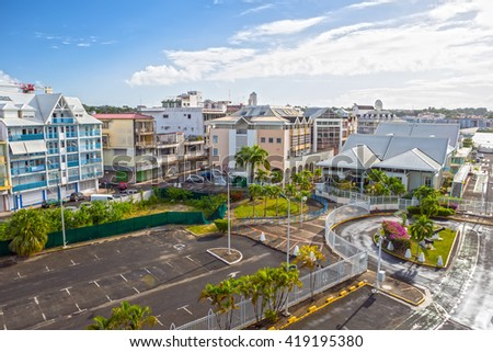 Street landscape of the city Pointe-a-Pitre, Guadeloupe in the Caribbean Sea