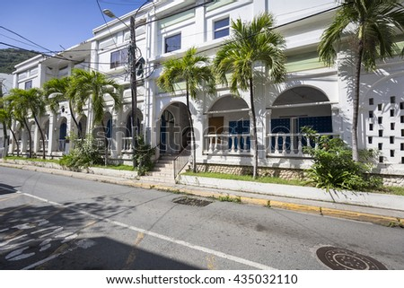 Street landscape of the city Road Town in Tortola in the Caribbean Sea